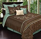 Sydney by Artistic Linen 8-Piece Faux Silk Embroidered Comforter Set, King, Chocolate