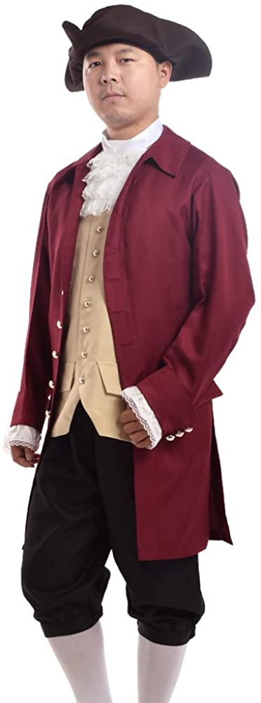 Rococo Men Colonial Costume Patriotic Adult Costume