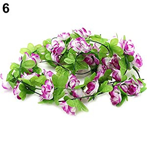 WskLinft Garden Home Wedding Party Decor Fake Flower Garland Artificial Rose Blossom Vine - Purple 12