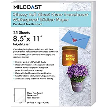 milcoast glossy full sheet 85 x 11 clear translucent waterproof adhesive sticker paper labels 25 sheets