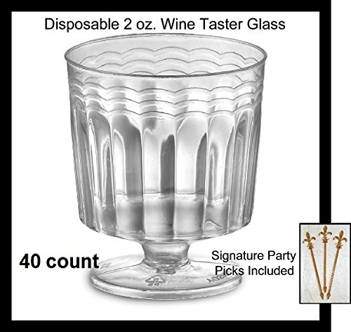 Fleur Crystal De Lis Small (40 Count Disposable Mini Wine Glass 2 oz Plastic Clear Heavyweight 1-Piece for Sampling Tasting Upscale)