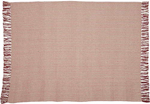 Bedroom Homespun Red Ticking Woven Throw Blanket, Oversized, 70″ x 55″, Primitive, Farmhouse, Country Décor farmhouse blankets and throws