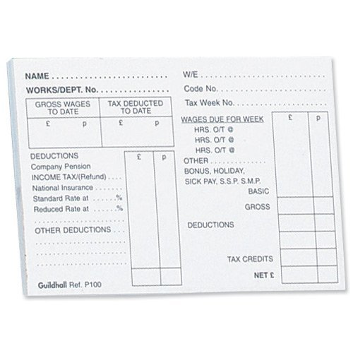 Pack of 5 Guildhall PAYE Wages Slip Pads 100 Leaf 89x127mm – Wages Slip