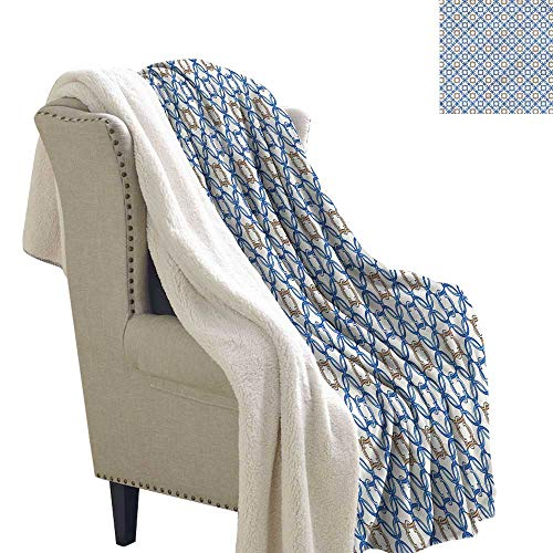 Alexandear Quatrefoil Light Thermal Blanket Ancient Delft Blue Sherpa Throws 60x47 Inch