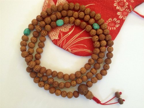 Tibetan Mala Raktu Seed Mala 108 Beads with Turquoise Spacers BSM-20 (Bangles Jade Gold White)
