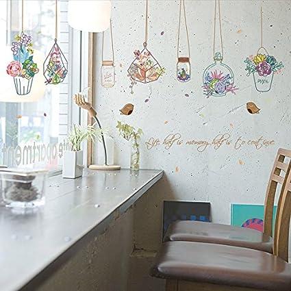 ALLDOLWEGE Las habitaciones están decoradas salón vinilos adhesivos pegatinas idílico deriva su botella verde de PVC
