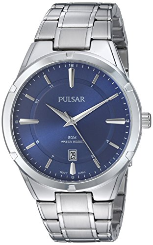 (Pulsar Men's Analog-Quartz Watch with Stainless-Steel Strap, Silver, 22 (Model: PS9521)