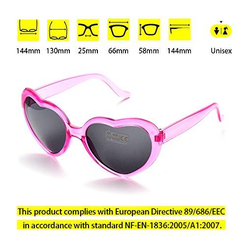 Pares 6 Multicolor de Corazón 6 Gafas Transparente 6 Forma ONNEA Fiesta de Sol Neon paquete Colores Rosa Paquete pack O75wxt11q