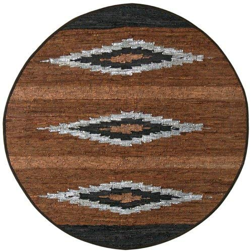 Matador Diamonds Leather Chindi Round Rug, 6 by 6-Feet, Brown