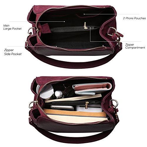 Women Real Suede Leather Shoulder Bag Leisure Doctor Handbag For Female Girls Top-handle (Burgundy) by Nico louise (Image #4)