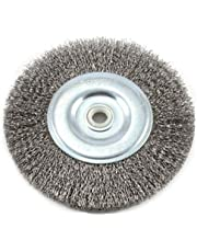 Forney 72745 Wire Bench Wheel Brush, Coarse Crimped with 1/2-Inch and 5/8-Inch Arbor, 6-Inch by .012-Inch