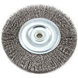 Forney 72745 Wire Bench Wheel Brush, Coarse Crimped with 1/2-Inch and 5/8-Inch Arbor, 6-Inch-by-.012-Inch