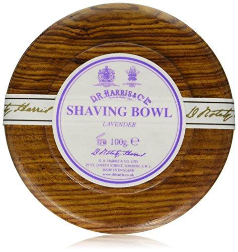 D.R. Harris Lavender Hard Shaving Soap in Mahogany Wood Bowl