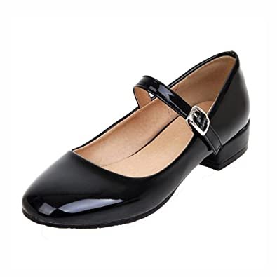 f0e7e5d70f6 Agodor Women s Flat Ankle Strap Mary Janes Work Shoes Patent Leather Casual  Ballet Flats Shoes Black