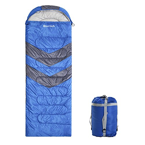 Gorich Envelope Sleeping Bag for Adults, Boys & Girls, Teens, Lightweight Portable, Waterproof, Comfort With Compression Sack - Great For 4 Season Traveling, Camping, Hiking, other Outdoor Activities.