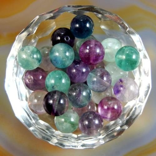 AD Beads Natural Gemstone Round Spacer Loose Beads (6mm 100pcs, Fluorite)