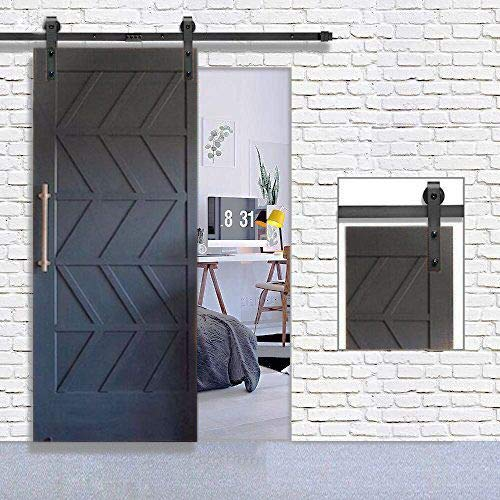 """Homlux Heavy Duty Sturdy Sliding Barn Door Hardware Kit 6ft One Door - Super Smoothly and Quietly - Simple and Easy to Install - Fit 1 3/8-1 3/4"""" Thickness Door Panel(Black)(J Shape Hangers)"""