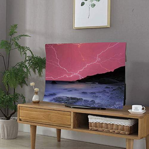 TVカバー tvケース レビカバー 防塵カバー 60Vのテレビに適用 液晶カバー アイマック テレビ 湖の家の装飾 太陽の光のような鮮やかなカラフルな空と雷雨のボルト驚異的な自然の写真 ピンクグレー