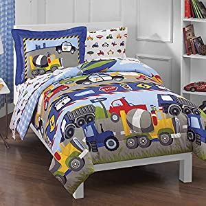 dream FACTORY Trucks Tractors Cars Boys 5-Piece Comforter Sheet Set, Blue Red, Twin 16