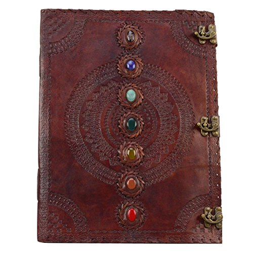 18'' Extra Large 7 Chakra Stone Wicca Book of Shadows Leather Journal by TreasureGurus, LLC