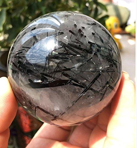 Besthk 30-35mm Natural Gemstone Sphere Ball Aura Balancing Metaphysical Ball (Tourmilated Quartz)