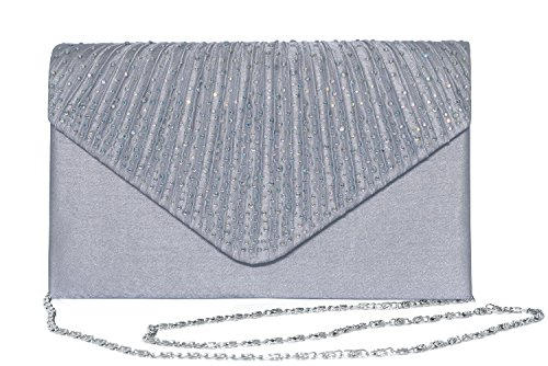 Outrip Women's Evening Bag Clutch Purse Glitter Party Wedding Handbag with Chain (B Silver)