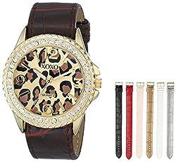 XOXO Women's XO9051 Gold-Tone Cheetah-Print Watch with Interchangeable Bands