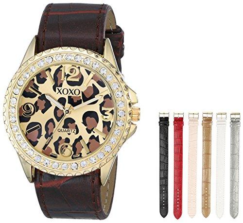 XOXO Women's XO9051 Gold-Tone Cheetah-Print Watch with Seven Interchangeable Bands (Women For Watches Cheetah)