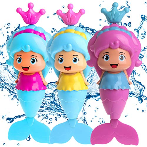 Conquer Baby - Bath Toys for Toddlers Kids Girls - Mermaid Princess Wind Up Tail Flap Floating Water BathTub Toys, Swimming Pool Beach Bathing Time Fun - Random Color 1 Piece