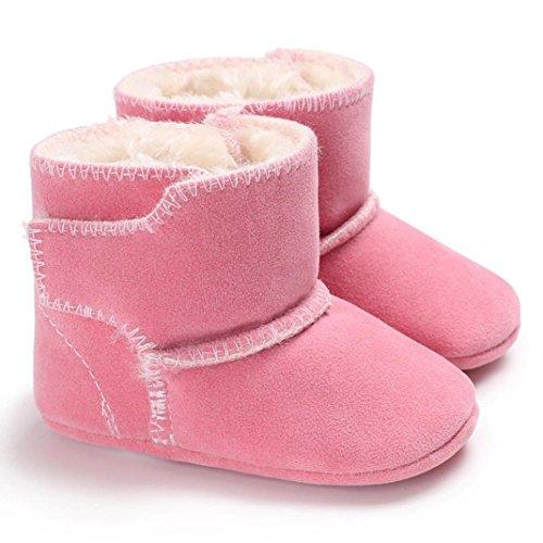 Hunpta Neugeborenes Baby Flauschige Samt Schuhe Soft Sole Krippe Kleinkind Anti-Rutsch Rosa