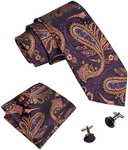 Hi-Tie Tie Hanky Cufflinks Set Paisley Silk Neckties Woven