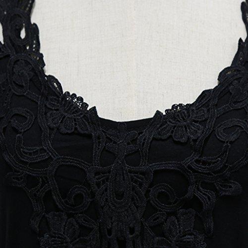 MagiDeal Camiseta de Chicas Blusa sin Mangas Superior de Chaleco Cordón de Verano Noche para Mujer negro