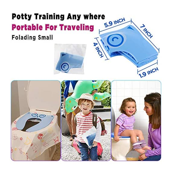 """Gimars Upgrade Large Non Slip Silicone Pads Travel Folding Portable Reusable Toilet Potty Training Seat Covers Liners with Carry Bag for Babies, Toddlers and Kids 2 Upgrade Version 6 pcs Large Nonslip Silicone Pads - Increasing 6 pcs Non Slip padding, not like other suppliers'2 pcs and increase the contact area of friction between the toilet cover and potty training seat, avoiding your babies falling off to the toilet effectively; No Gap to Pinch - Enhance the tightness of joint, more firmly, no gap design solve the problem of pinches bottom. Fits Most standard toilet, helps babies learn how to use toilet bowl in restroom with more confidence when you are out and about Freely switch Foldable To Unfoldable Design - Toilet Seat cover Folds up pretty small size of 7''L x 6''W x 2''H to bring to public restrooms easily and perfect for your children's away-from-home bathroom's needs and compact for """"on the go"""" and traveling; Also can stay Unfoldable 13.5''L x 11 ''W x 1''H, Perfect for every baby potty training everyday use at home"""