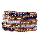 KELITCH Crystal on Gray Leather Charm 5 Wrap Bracelet Handmade New Top Jewelry5