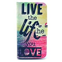 BEST- Eshop Live the life you love PU leather Magnetic Flip Wallet Card Case Cover with Stand for Apple iPhone 4 4S , With Credit Cards Slots/ Money Holder
