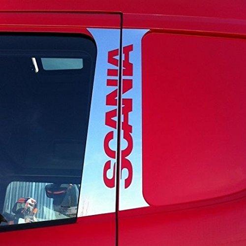 4 x Edelstahl-Tü r-Dekoration, fü r Scania R L P-Serie, Spiegel mit Zubehö r ES