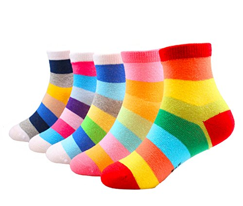 Kids Boys 5 Pack Multi-Color No Show Cotton Socks (6-8T, Rainbow Pack of 5)