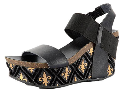 Black Women's Gold FDL Sandal Wedge Corkys OHnx66