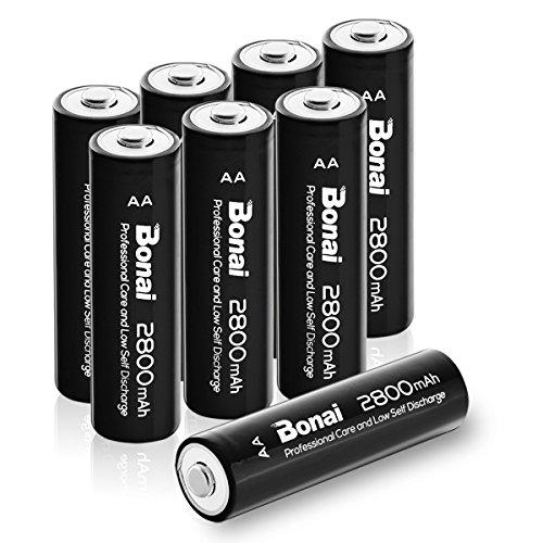 Bonai 8 Packs 2800mAh AA Rechargeable Batteries 1.2V Ni-MH Low Self Discharge - UL Certificate