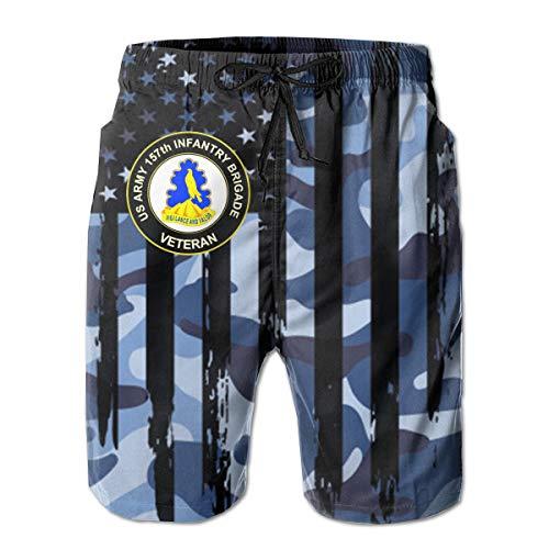 U.S. Army 157th Infantry Brigade Unit Crest Veteran Men's Beach Pants Beach Surfing, Running and Swimming White