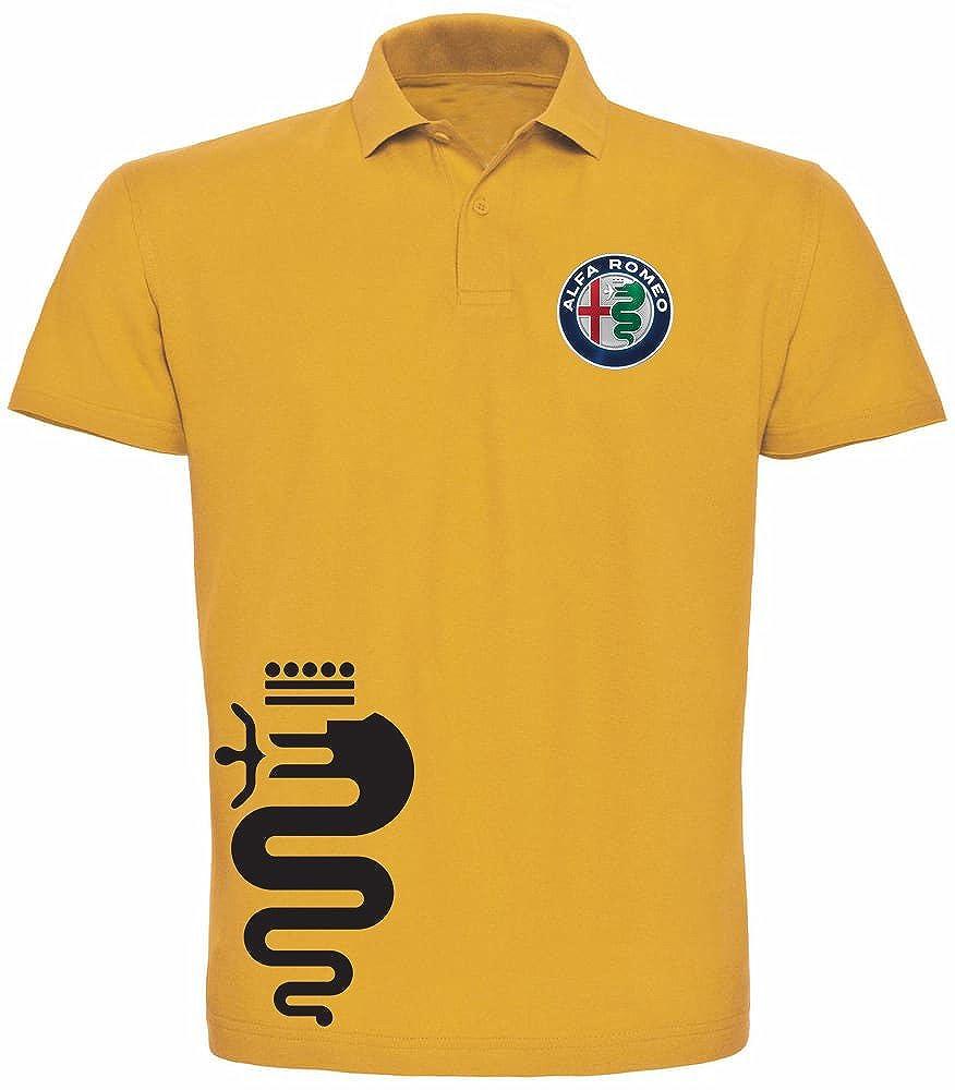 T-Shirt Polo manica corta uomo ragazzo Alfa romeo cuore sportivo racing rally Personalizzata PL.MY03