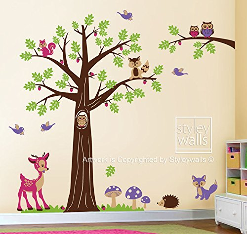 Woodland Animals and Tree Wall Decal for Nursery Decor, Forest Animals Bambi Deer Squirrels Owls and Raccoon Wall Decal Sticker by Styleywalls