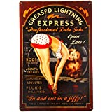 T-ray Greased Lightning Pin Up Girl Sign this ''Professional Lube Jobs'' pin up girl sign is a great garage or man cave sign