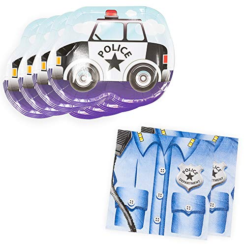 Police Cruiser Shaped Plate & Napkin Sets (70+ Pieces for 32 Guests!), Table Decorations, Police Graduations and Birthdays -