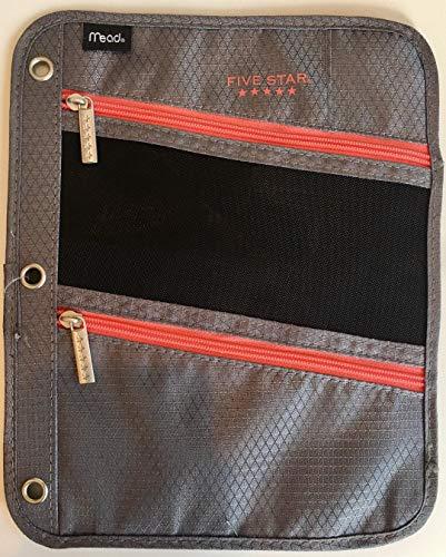 Five Star Pencil Pouch, Pen Case, Fits 3 Ring Binder, Zipper Pouch, Blue/Orange (50642CB8) (Grey)]()