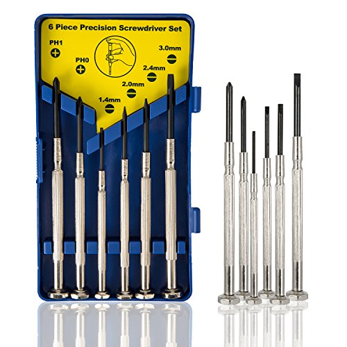 6Pcs Precision Screwdriver Set with Case, 6 Different Size Flathead and Cross Screwdrivers, Mini Screwdriver Bit for Watch Repair, Jewelry Repair, Glasses Repair, Electronics Repair and - Glasses Sizes Screws