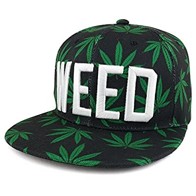 Trendy Apparel Shop Marijuana Leaf Print Flatbill Adjustable Snapback Cap With 3D Embroidery