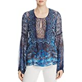 Elie Tahari Womens Avan Silk Blend Sheer Peasant Top Blue XL
