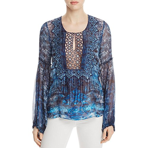 Elie Tahari Womens Avan Silk Blend Sheer Peasant Top Blue XL by Elie Tahari