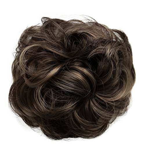 PRETTYSHOP Scrunchie Scrunchy Bun Up Do Hair piece Hair Ribbon Ponytail Extensions Wavy Curly or Messy brown mix 32AH12 by Prettyshop Hairpiece